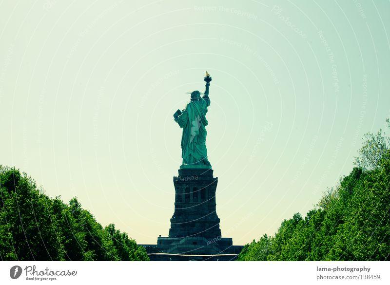 Ein schöner Rücken... New York City Manhattan Amerika USA Kunst Wahrzeichen Statue Dame Symbole & Metaphern Freiheit Frankreich hoch Patina historisch Denkmal