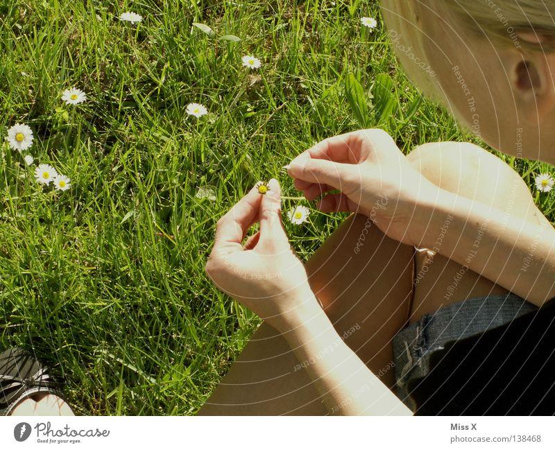 Dein Foto wurde....bestätigt....nicht bestätigt.....bestätigt... Frau grün Blume Erwachsene Wiese Frühling Gras Blüte Traurigkeit Denken träumen blond warten