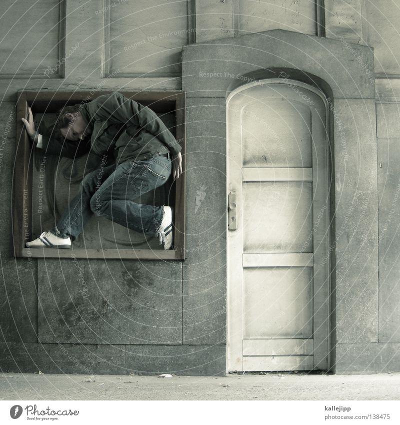 im quadrat Wappen Wappentier Mann Relief Tor Eingang Ausgang Einfahrt Haus passen Quadrat Wächter Kunst Leben Statue Setzkasten Denkmal Symbole & Metaphern