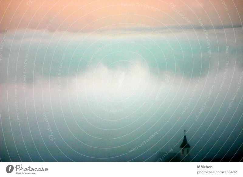 Kulisse Himmel weiß Baum Sommer dunkel kalt Wetter Hintergrundbild Nebel trist Turm Sträucher Dorf verstecken Tau mystisch