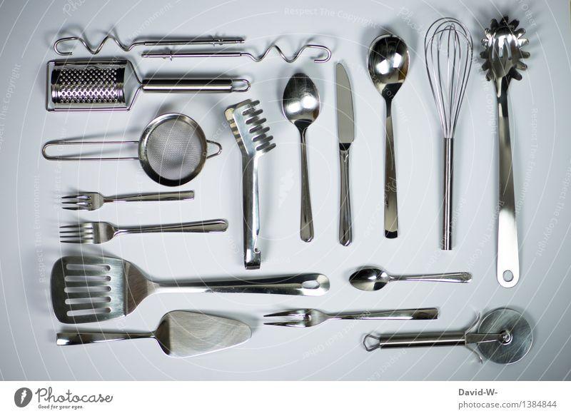 Super Still Leben | Küchenwerkzeug Ernährung Mittagessen Kaffeetrinken Geschirr Besteck Messer Gabel Löffel Lifestyle Essen glänzend Sauberkeit Appetit & Hunger