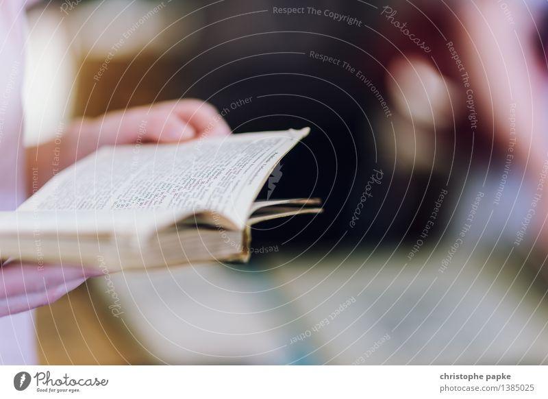 inhalte prüfen Medien Printmedien Buch lesen Buchseite Buchladen Außenaufnahme analog stöbern Leser Farbfoto Textfreiraum rechts Tag Schwache Tiefenschärfe