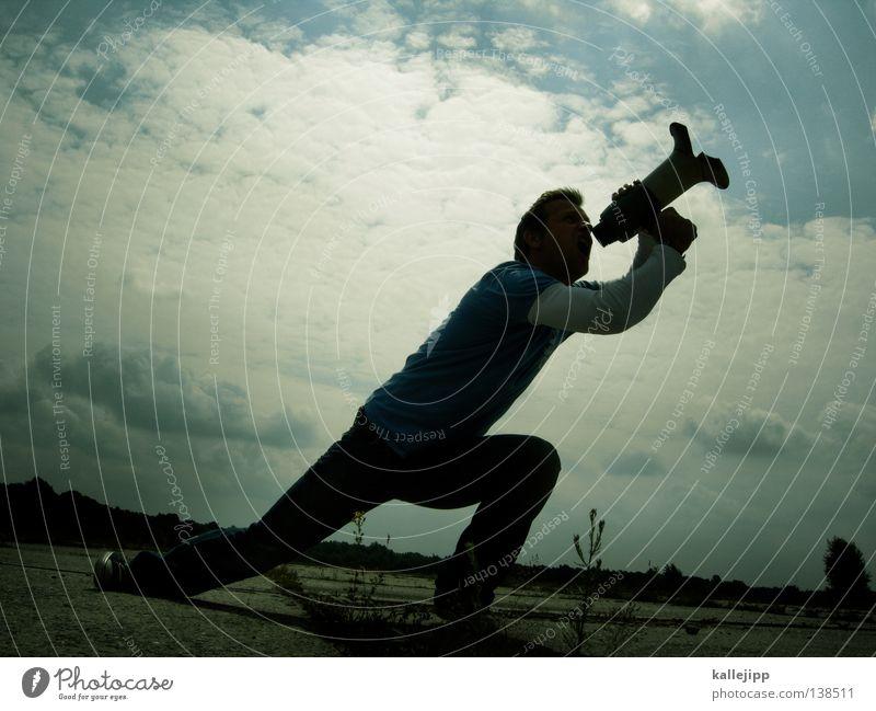 yeah! Mensch Mann Freude ruhig Wand sprechen springen Mauer Schuhe fliegen verrückt neu Lifestyle Hinweisschild T-Shirt Jeanshose