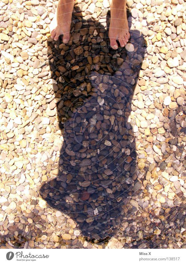 Kneippen Farbfoto Außenaufnahme Schatten Schwimmen & Baden Fuß Wasser Bach Fluss Stein kalt braun grau Kieselsteine Zehen steinig kneippen Kneippkur Fußbad