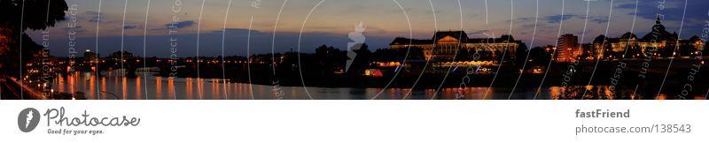 A night to remember Himmel Wasser Sonne Sommer Wolken Küste Lampe groß Fluss Dresden historisch Abenddämmerung Panorama (Bildformat) Elbe Barock Sachsen