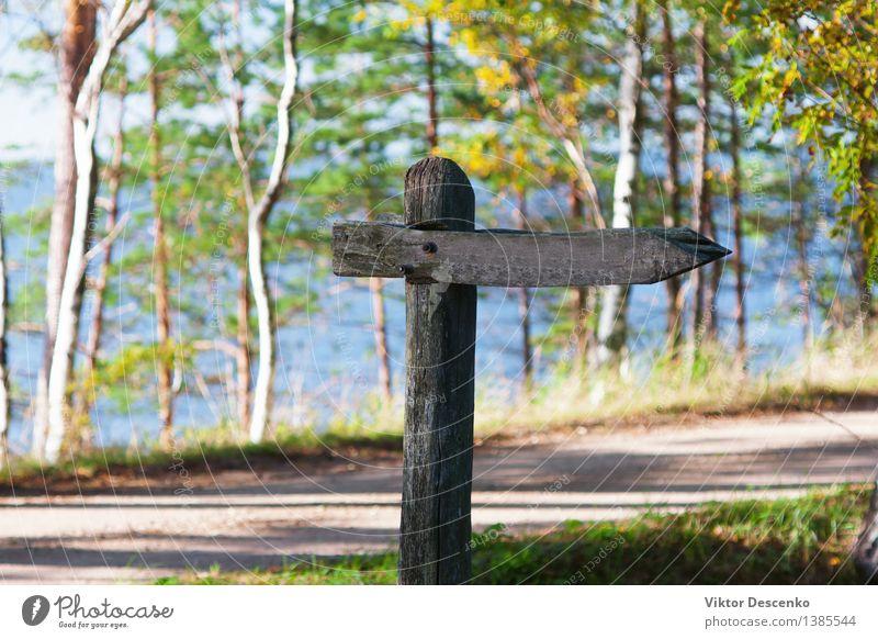 Alter hölzerner Wegweiser an einer Landstraße Himmel Natur Ferien & Urlaub & Reisen alt blau grün Farbe weiß Landschaft gelb Straße Wege & Pfade braun Park