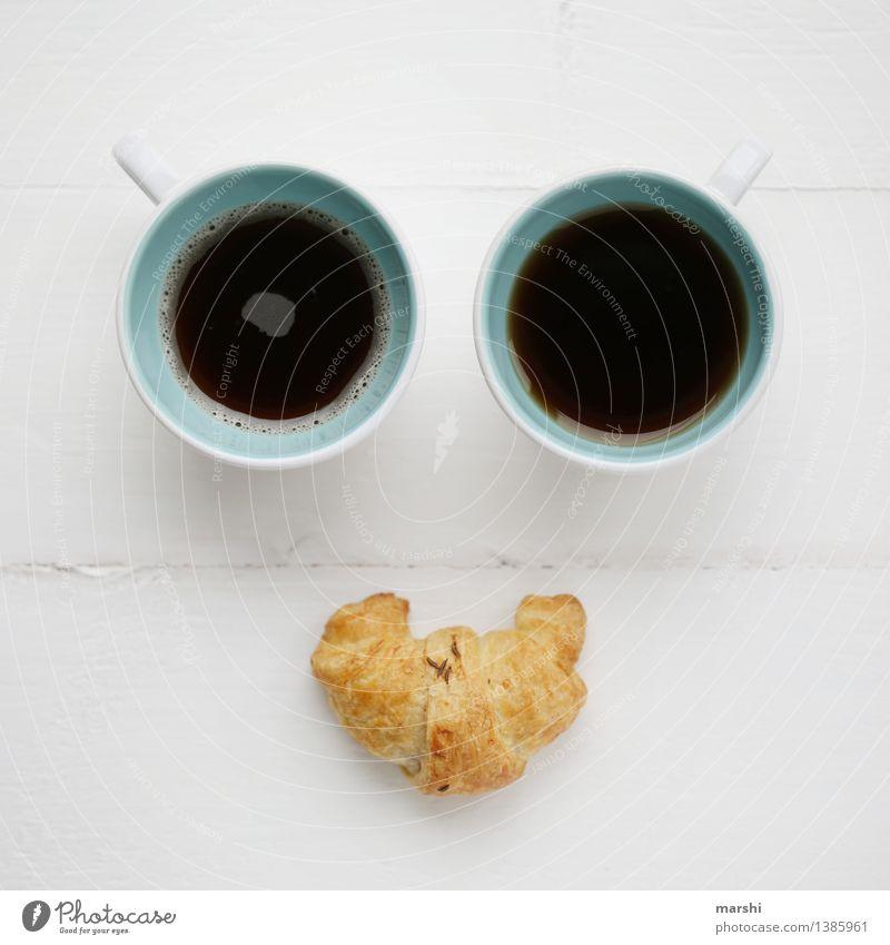 französisches Frühstück Lebensmittel Croissant Ernährung Essen Getränk trinken Heißgetränk Kaffee Espresso Tee Gefühle Stimmung Kaffeetasse Gesicht Französisch