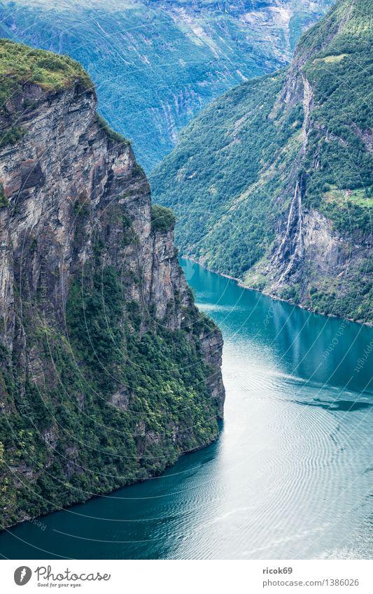 Geirangerfjord Erholung Ferien & Urlaub & Reisen Berge u. Gebirge Natur Landschaft Wasser Wolken Fjord Idylle Tourismus Norwegen Møre og Romsdal Reiseziel