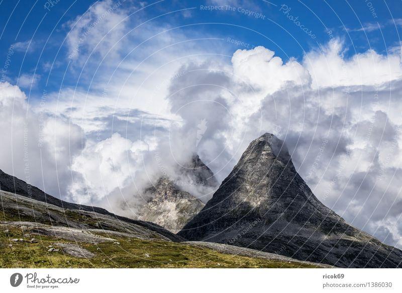 Berge Erholung Ferien & Urlaub & Reisen Berge u. Gebirge Natur Landschaft Wolken Felsen Gipfel Idylle Tourismus Norwegen Møre og Romsdal Reiseziel Himmel