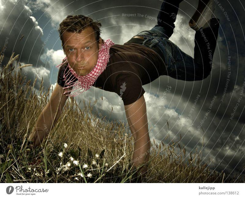 distant dreamer springen blasen Schwerelosigkeit Vakuum Feld Wiese Sommer Wolken Horizont Gefühle Mann Lifestyle träumen Kornfeld leicht schwer Erfolg