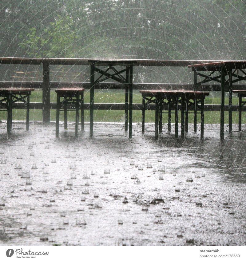 Regen-Party Wasser Baum Wald Wetter Wassertropfen nass Ausflug Tisch Bank Sturm Gewitter feucht Unwetter Pfütze schlechtes Wetter