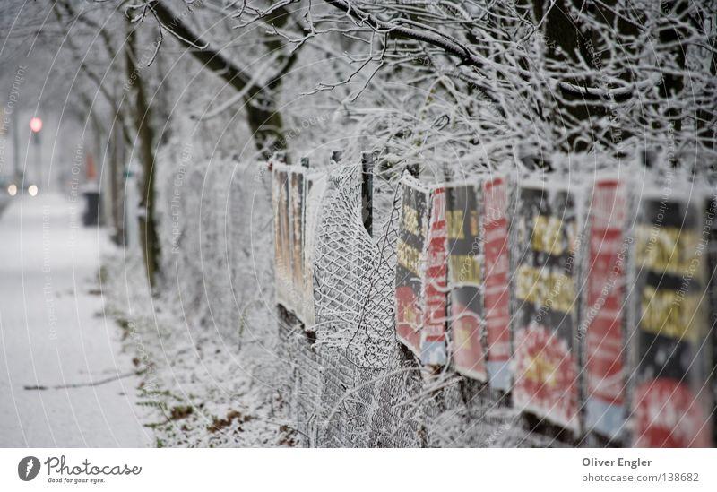 Straße nach Frankfurt weiß Baum Stadt Winter Schnee Schilder & Markierungen Frankfurt am Main Verkehrswege Zaun Zirkus Schlaufe Laubbaum Würstchen
