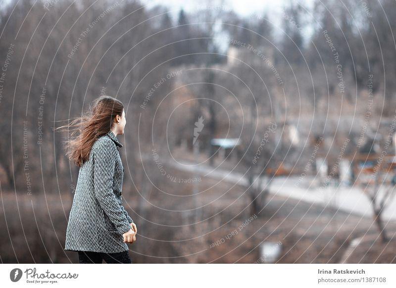 Junge Frau auf dem Gebiet mit ihrem Haardurchbrennen Mensch Natur Jugendliche schön Baum Erotik Landschaft 18-30 Jahre kalt Erwachsene Herbst Glück