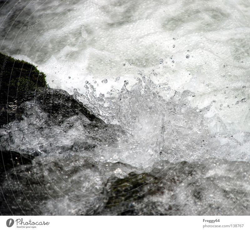 Erfrischung Wasser weiß Sommer schwarz kalt Berge u. Gebirge Stein Felsen Fluss blasen Schifffahrt Bach Luftblase Schaum Wildbach Wildwasser
