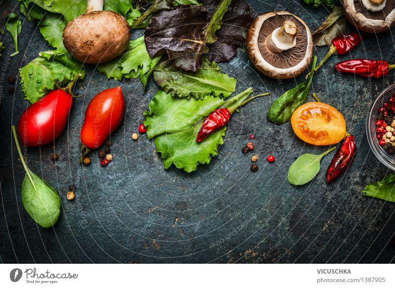 Frische Zutaten für leckeren Salat Natur Gesunde Ernährung Leben Stil Hintergrundbild Lebensmittel Design Tisch Kräuter & Gewürze Küche Gemüse Bioprodukte