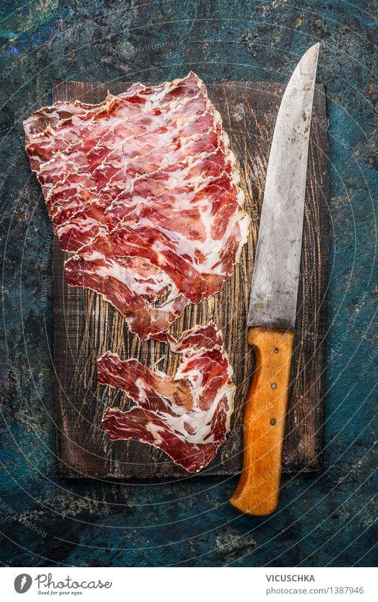 Coppa Schinken mit Küchenmesser Stil Lebensmittel Design Ernährung Tisch Tradition Fleisch Messer Festessen Wurstwaren rustikal Italienische Küche Feinschmecker