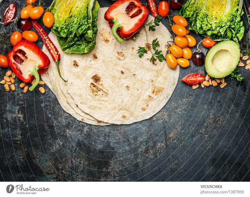 Tortillas mit Gemüse für Tacos oder Burritos Gesunde Ernährung gelb Leben Foodfotografie Stil Lebensmittel Party Textfreiraum Tisch Küche Bioprodukte Restaurant