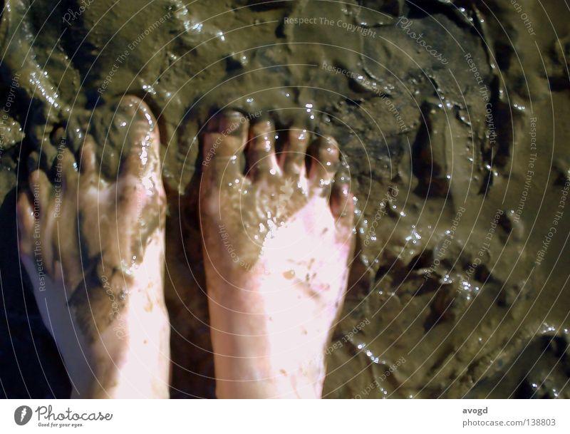 Plitsch und Platsch Ferien & Urlaub & Reisen Sommer Meer Fuß braun Freizeit & Hobby dreckig Haut nass Bodenbelag Schönes Wetter Spuren Nordsee Sonnenbad bleich
