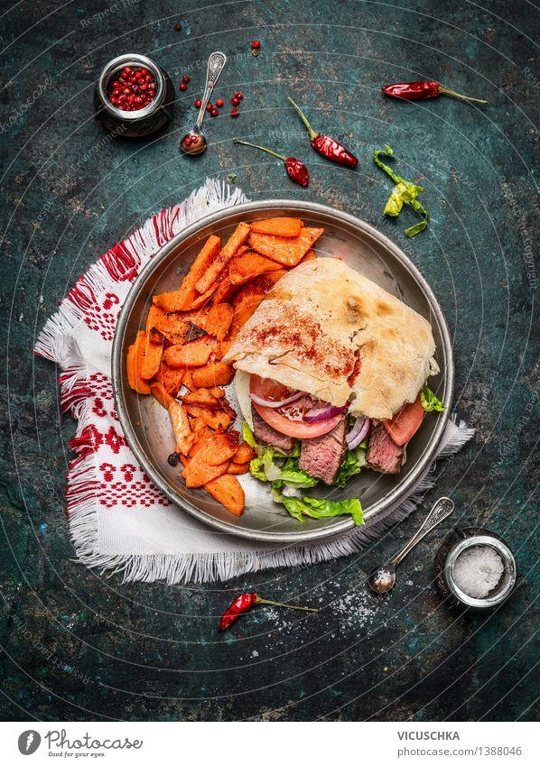 Sandwich mit gebratenes Fleisch , Gemüse und Süßkartoffeln Essen Stil Lebensmittel Design Ernährung Tisch Kochen & Garen & Backen Küche Bioprodukte Restaurant