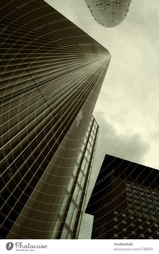 urbanloveFFM 08.07.2008 Himmel Stadt Haus Architektur Gebäude Business Kunst Kraft hoch groß Beton Hochhaus Perspektive Macht bedrohlich Geldinstitut