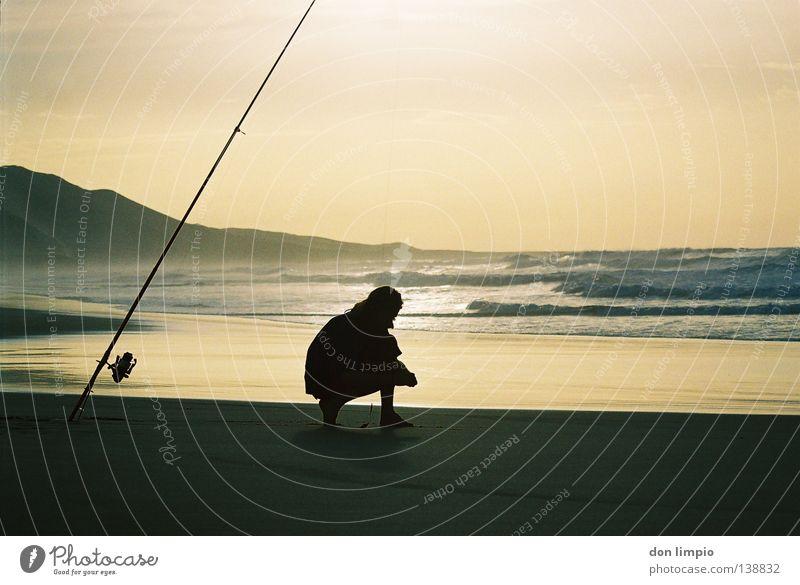 la costa oeste Meer Strand Wellen Freizeit & Hobby analog Bucht Angler Angelrute Fuerteventura Rauschen