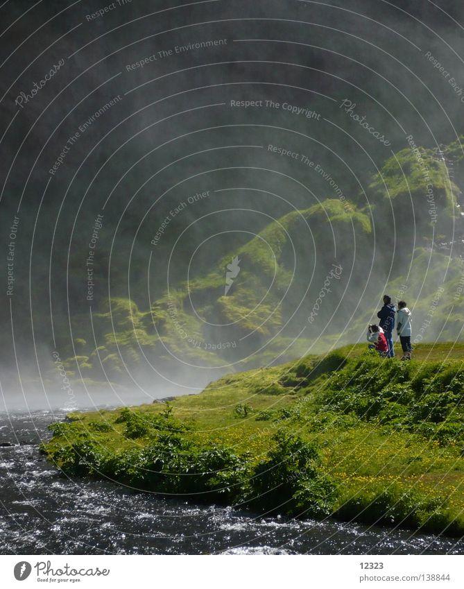 staunen Natur Wasser grün Ferien & Urlaub & Reisen ruhig kalt Berge u. Gebirge Landschaft Kraft Nebel nass frisch Energiewirtschaft Abenteuer Fluss Island
