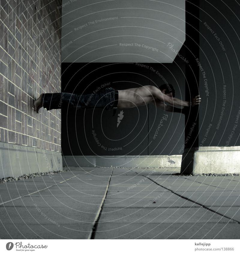 mäuse-phobie Mann Silhouette Dieb Krimineller Ausbruch Flucht umfallen Fenster Parkhaus Geometrie Gegenlicht Jacke Mantel Mütze Strahlung Thriller springen