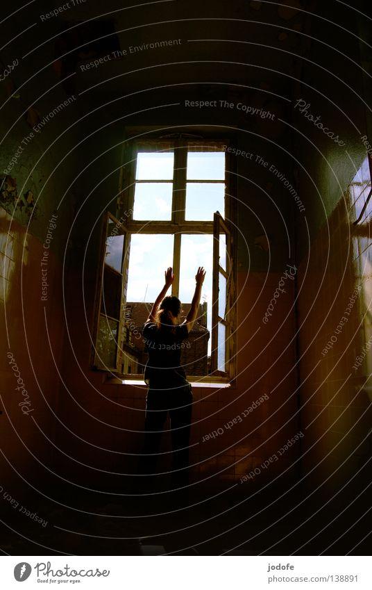 put your hands up in the air Frau feminin Mensch stehen Fenster Fensterrahmen Wand winken Reflexion & Spiegelung geschlossen Gebäude Gemäuer verfallen schädlich