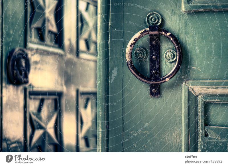TOR! grün Haus Tür Häusliches Leben Tor Eingang England Durchgang Türklopfer