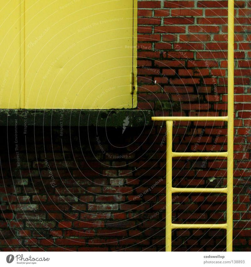 Donkey Kong Trittleiter Feuerleiter Warenlager Lagerhalle gelb Sackgasse Spielhalle Wand Fluchtweg Detailaufnahme Sicherheit Dienstleistungsgewerbe ladder