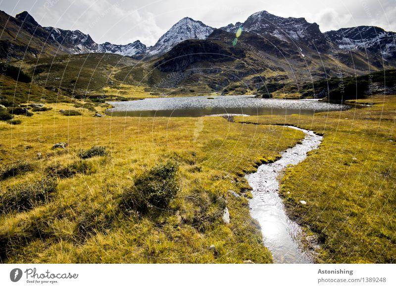 Zufluss zum Gebirgssee III Himmel Natur Pflanze blau Wasser Landschaft Wolken Berge u. Gebirge Umwelt Herbst Wiese Gras See braun Felsen Horizont