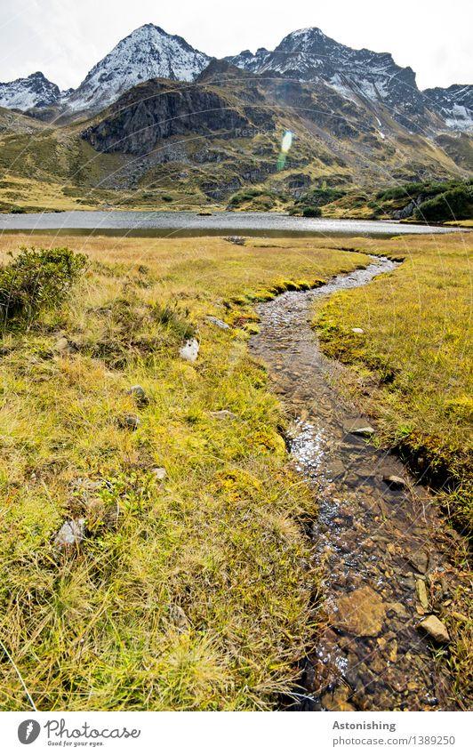 Zufluss zum Gebirgssee II Umwelt Natur Landschaft Pflanze Erde Himmel Wolken Herbst Wetter Gras Sträucher Hügel Felsen Alpen Berge u. Gebirge Gipfel
