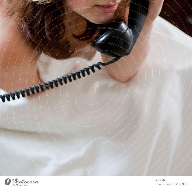 100 - in worten: HUNDERT weiß Telefon Kleid Tradition Frau Braut Telefongespräch altmodisch Brautkleid