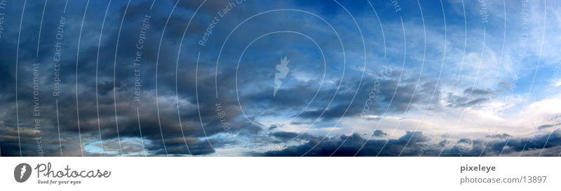 Wolken am Nachmittag schlechtes Wetter Panorama (Aussicht) Weitwinkel Sonne Himmel groß Panorama (Bildformat)
