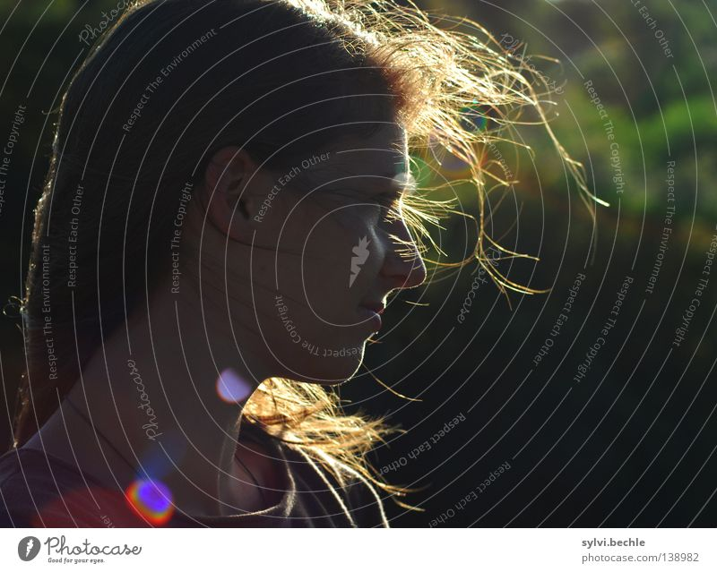 vom winde verweht Frau grün schön ruhig Ferne Erwachsene Traurigkeit Gefühle Denken Zeit Haare & Frisuren fliegen träumen Raum Luft Wind