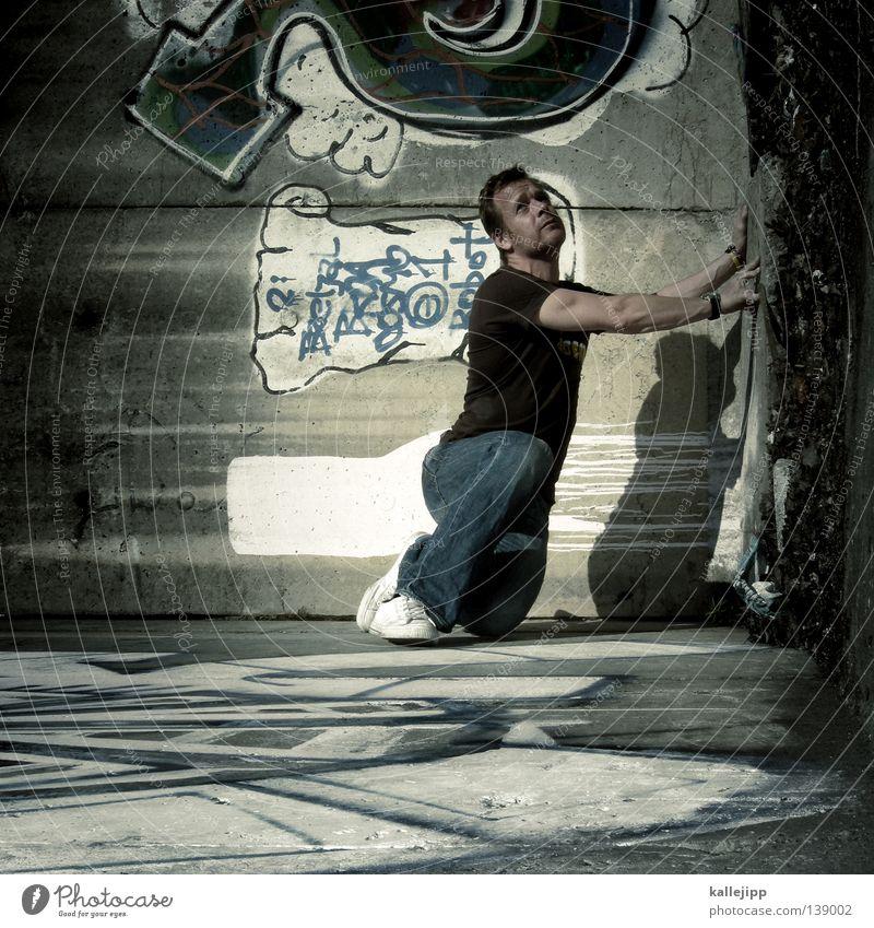 das bild hängt schief Mann Silhouette Dieb Krimineller Ausbruch Flucht umfallen Fenster Parkhaus Geometrie Gegenlicht Jacke Mantel Mütze Strahlung Thriller