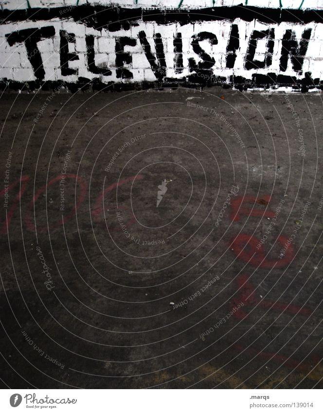 Television Rules the Nation Stadt Ferne Fenster Graffiti Wand Arbeit & Erwerbstätigkeit offen Schriftzeichen Bodenbelag Kabel Buchstaben Symbole & Metaphern