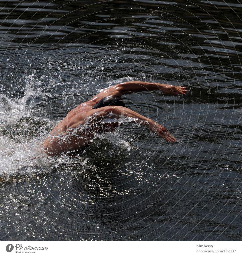 rescue diver Mensch Mann Hand Jugendliche Wasser Sport Spielen See Gesundheit Arme gehen Wassertropfen Rücken Technik & Technologie tauchen