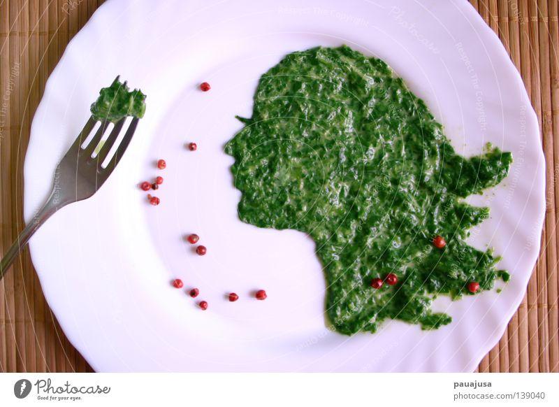 Fashion Foodography schön grün rot Gesicht Ernährung Besteck Gesundheit Lebensmittel Mahlzeit Kräuter & Gewürze Gemüse Speise Appetit & Hunger genießen Teller Silhouette