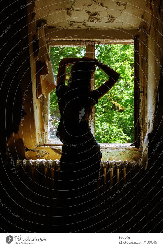 Es ist Sommer! Fenster Frau feminin Gegenlicht Tapete durchdrehen fallen Hohlkreuz Rückansicht grün Park Baum Blatt Licht Sonnenstrahlen hell dunkel Putz