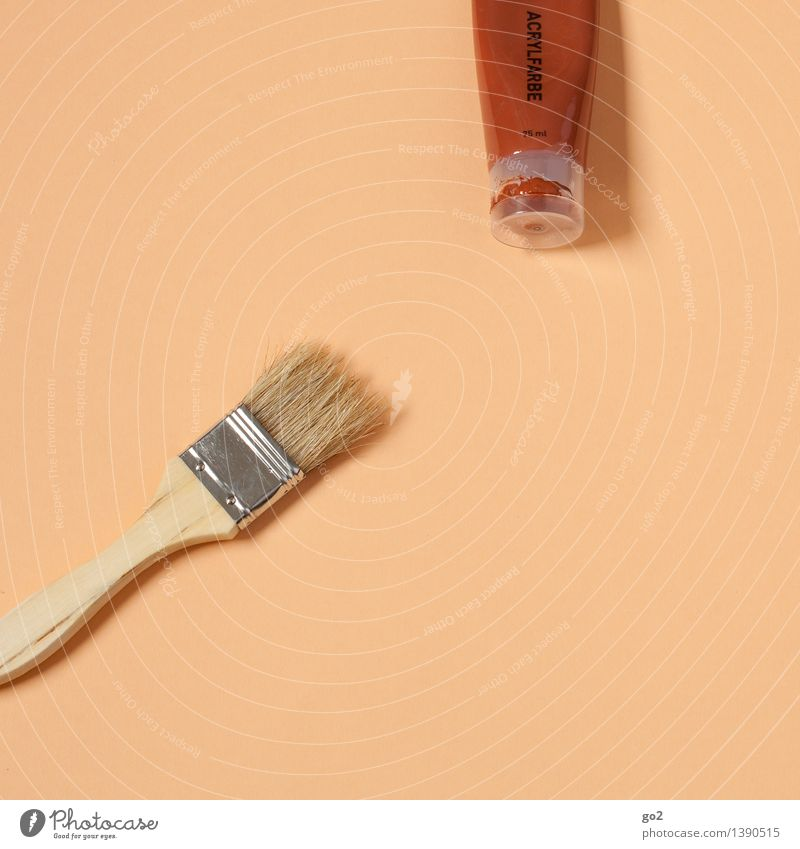 Gebrannte Siena Freizeit & Hobby Renovieren Arbeit & Erwerbstätigkeit Handwerker Anstreicher Kunst Künstler Maler Acrylfarbe Pinsel Pinselstiel Tube Farbstoff