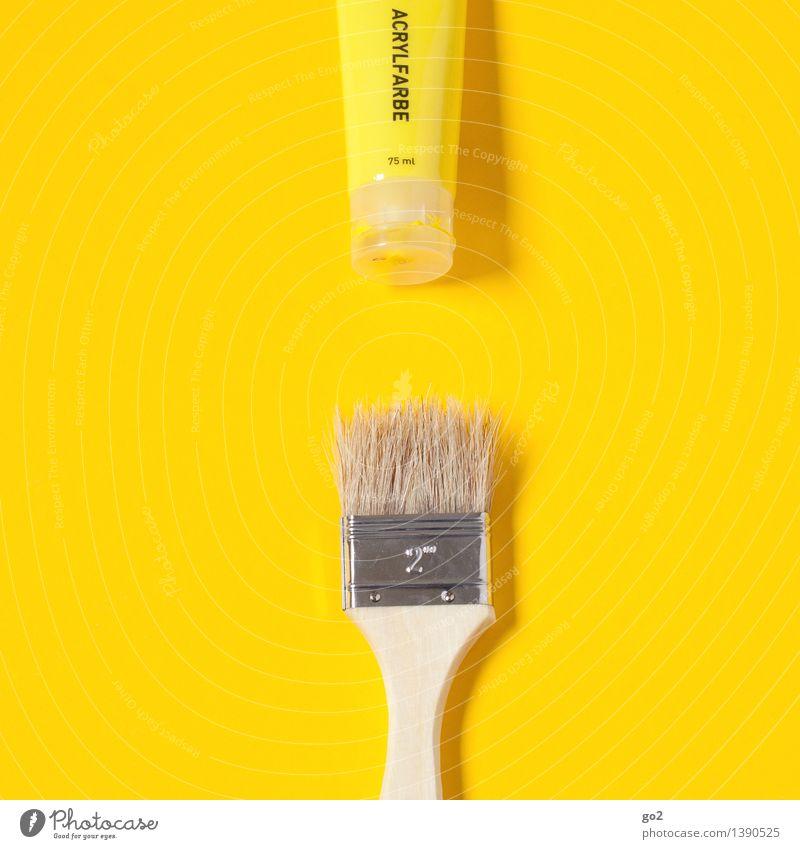 Zitronengelb Freizeit & Hobby Renovieren Arbeit & Erwerbstätigkeit Anstreicher Kunst Künstler Maler Tube Farbstoff Pinsel Pinselstiel Acrylfarbe streichen
