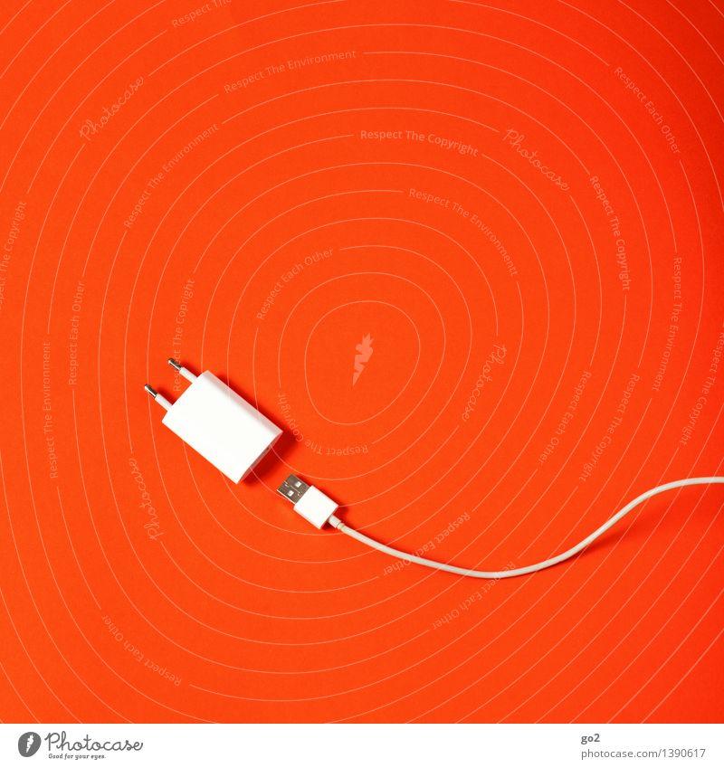 Einfach mal den Stecker ziehen weiß rot sprechen Arbeit & Erwerbstätigkeit orange Design Büro ästhetisch Energie Technik & Technologie Kommunizieren Computer