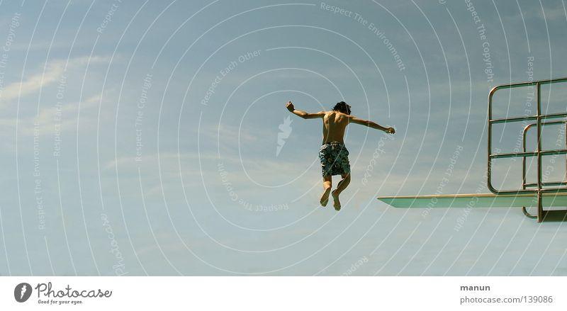 Skydiver schwarz weiß türkis Wolken Luft Himmel Sport Freizeit & Hobby Gesundheit Körperbeherrschung Kick springen Jugendliche Aktion Sommer Schwimmbad Freibad