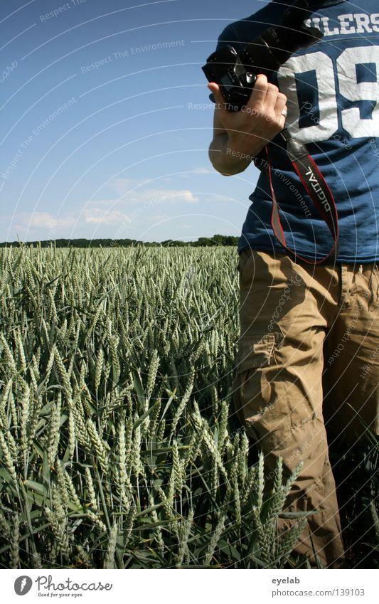 09 Feld Landwirtschaft Roggen Weizen Hafer Hirse Sommer Horizont Schönes Wetter Ernährung Pflanze grün Holz Wachstum Naturwuchs Mann Bekleidung Hand Hose