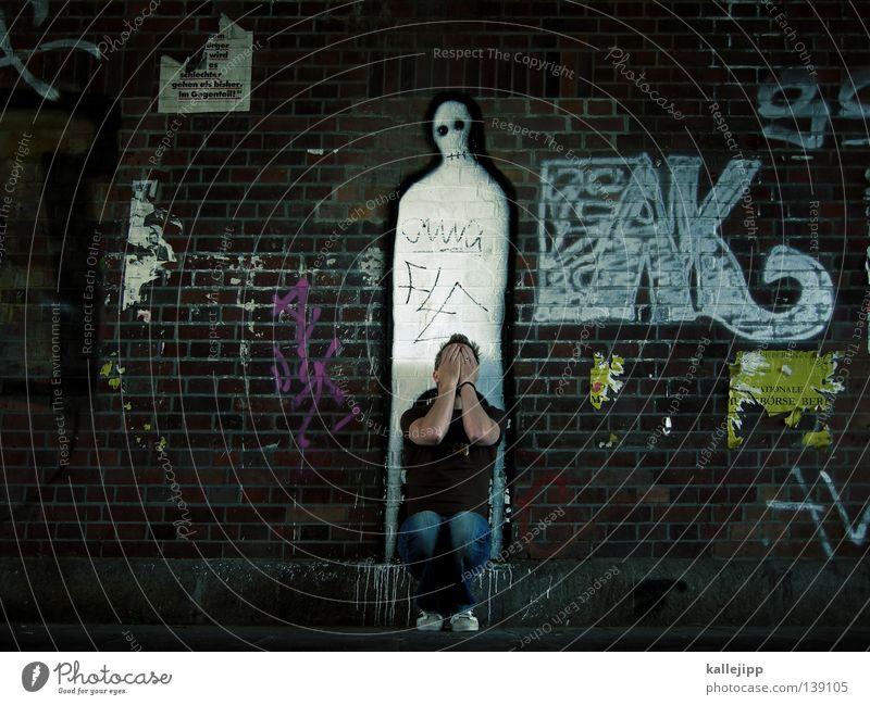 tabuthema Mensch Himmel Mann weiß Hand ruhig Gesicht Graffiti Wand Leben Tod Religion & Glaube Grafik u. Illustration Symbole & Metaphern Trauer Konzepte & Themen