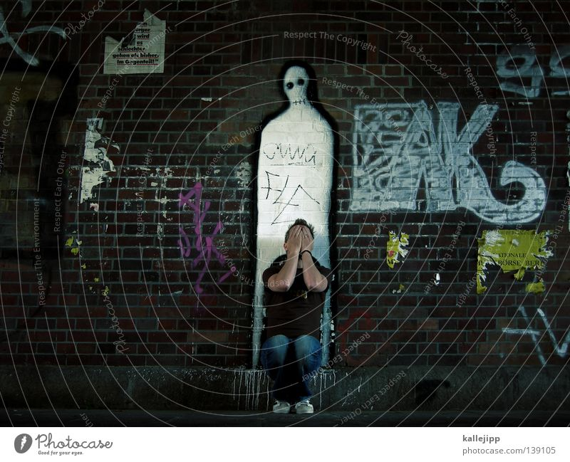 tabuthema Mensch Himmel Mann weiß Hand ruhig Gesicht Graffiti Wand Leben Tod Religion & Glaube Grafik u. Illustration Symbole & Metaphern Trauer