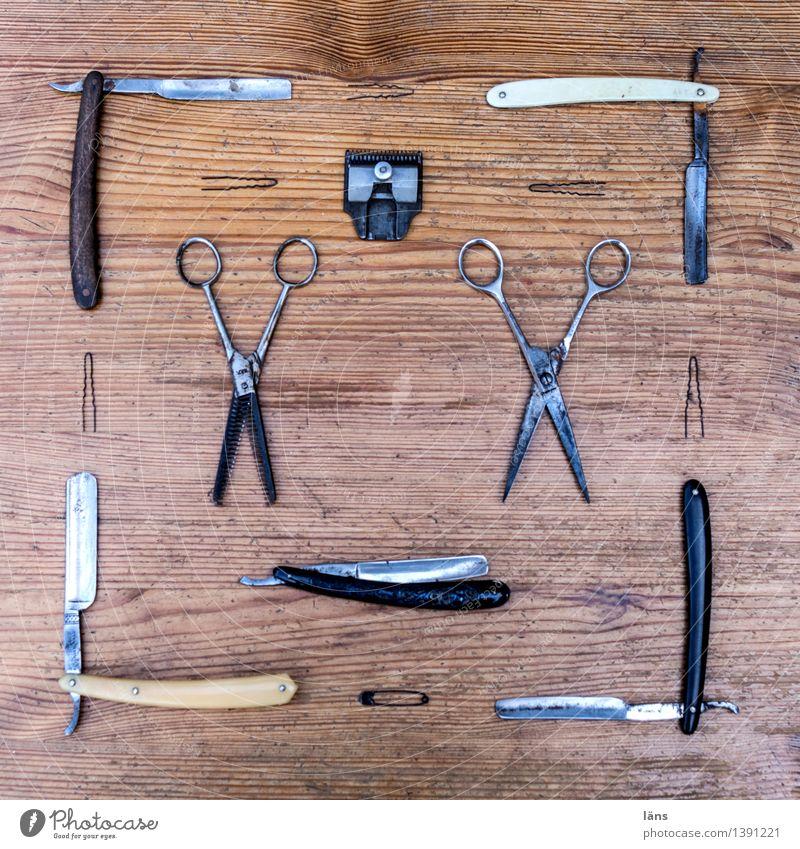 Schnittmuster Holz Schere Rasierer Beruf Handwerk Werkzeug Sammlung Anhäufung