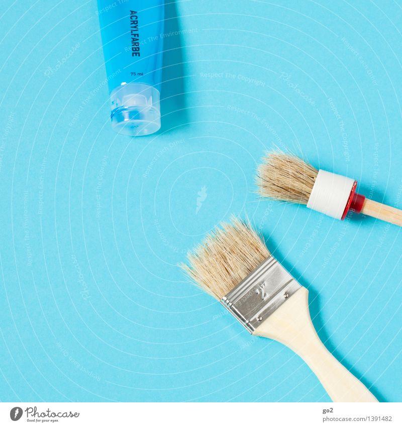 Himmelblau Freizeit & Hobby heimwerken Renovieren Arbeit & Erwerbstätigkeit Handwerker Anstreicher Kunst Künstler Maler Tube Acrylfarbe Pinsel Farbstoff