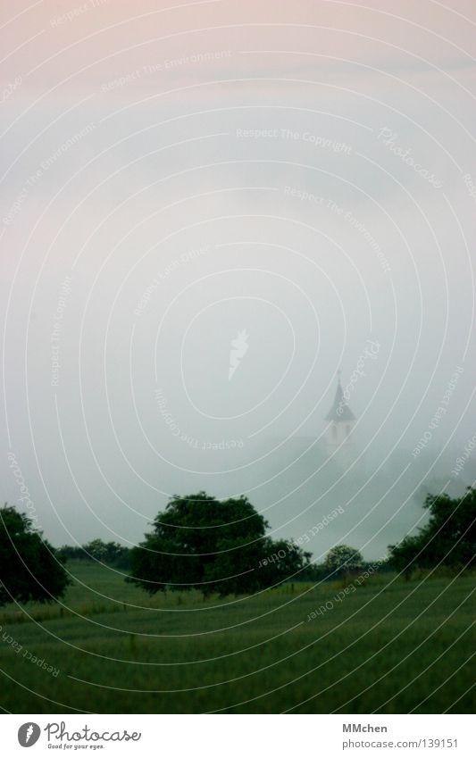 Im Tal untergehen Kirchturm Kirchturmspitze Turmspitze Schall Kirchenglocke Glocke Nebel Dorf Baum Sträucher Nebelbank dunkel weiß Morgennebel Durchblick Tau